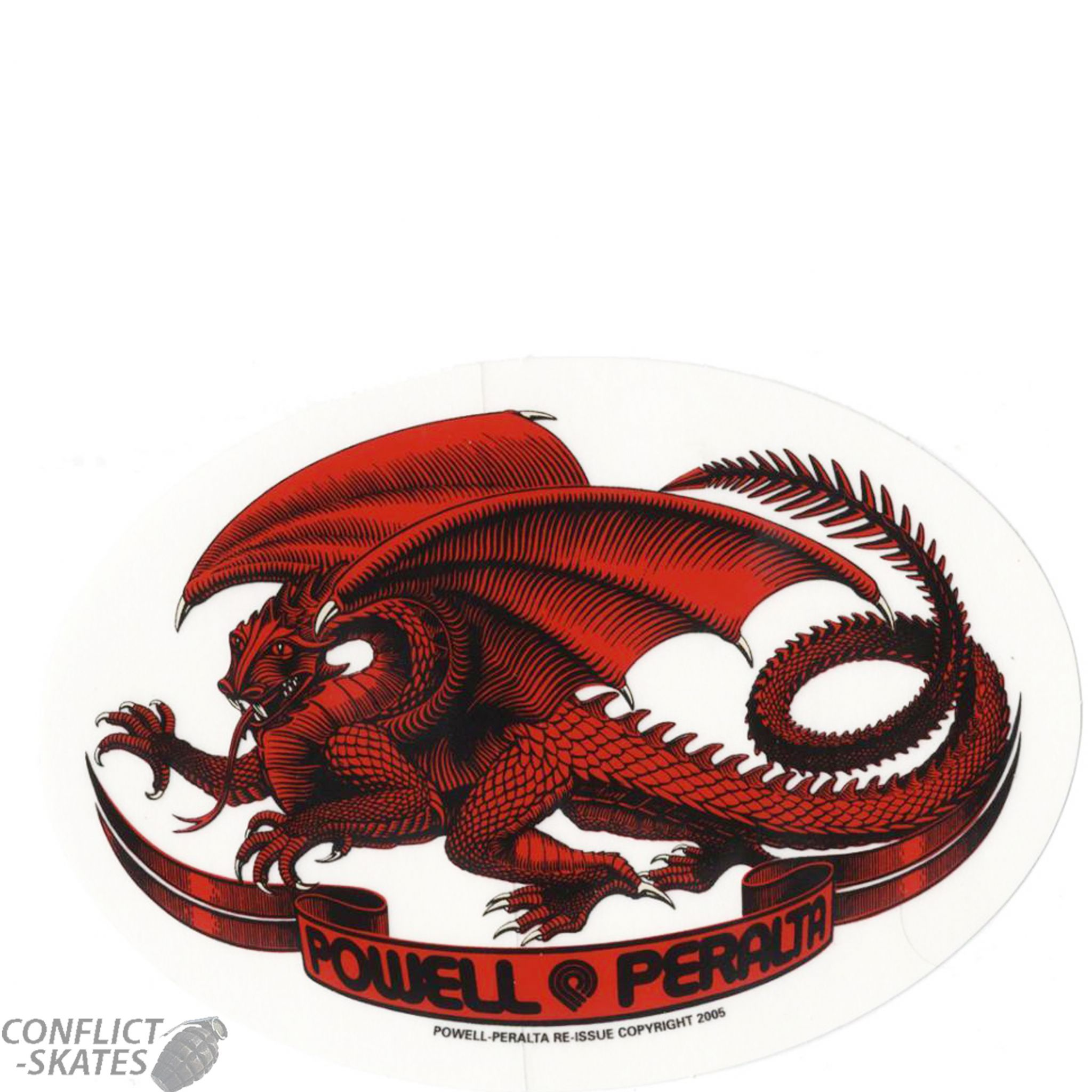 Powell Peralta Oval Dragon Skateboard Sticker 13cm X 9cm