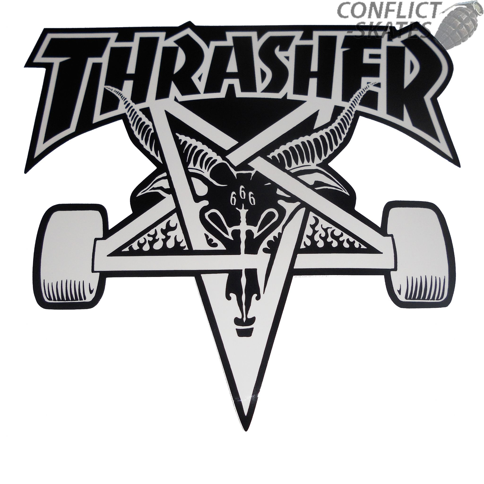 Thrasher Skate Goat Skateboard Sticker 10cm Medium White