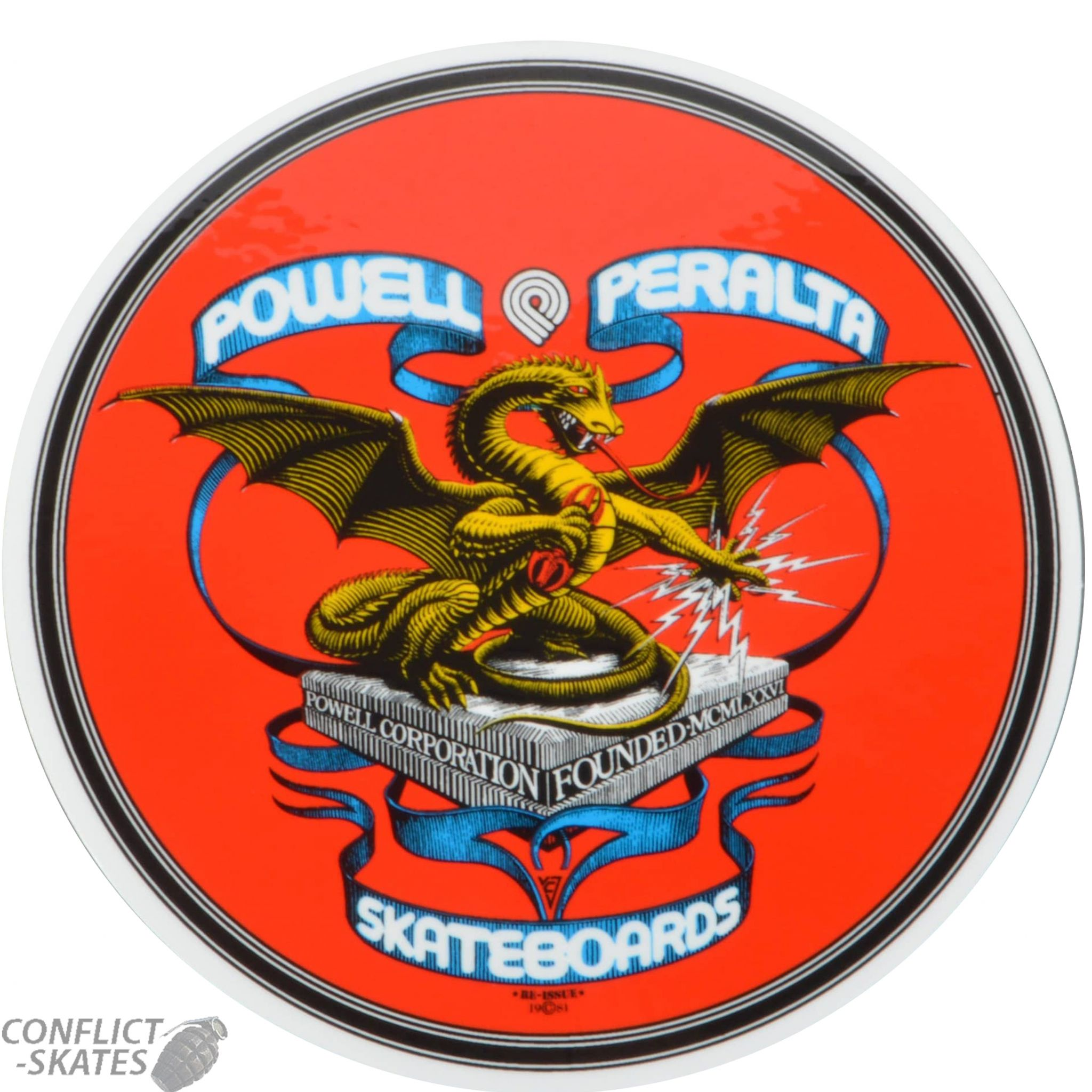 Powell Peralta Banner Dragon Skateboard Sticker 10cm X