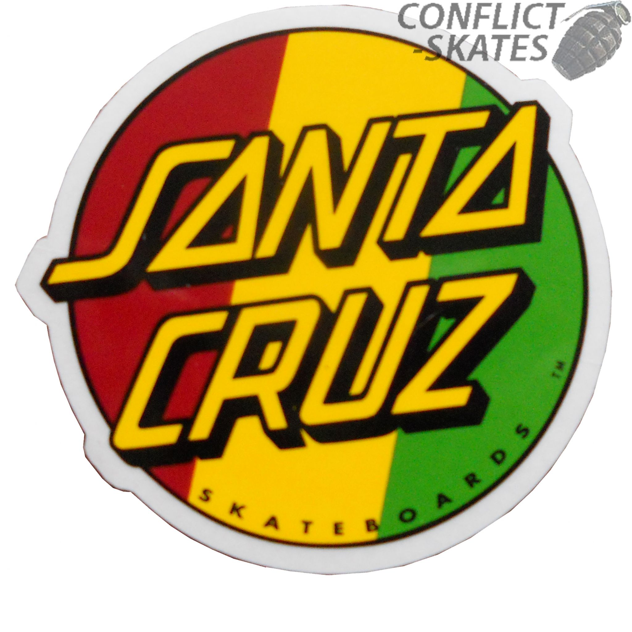 Santa cruz rasta dot skateboard sticker 8cm old skool red gold green small jim phillips
