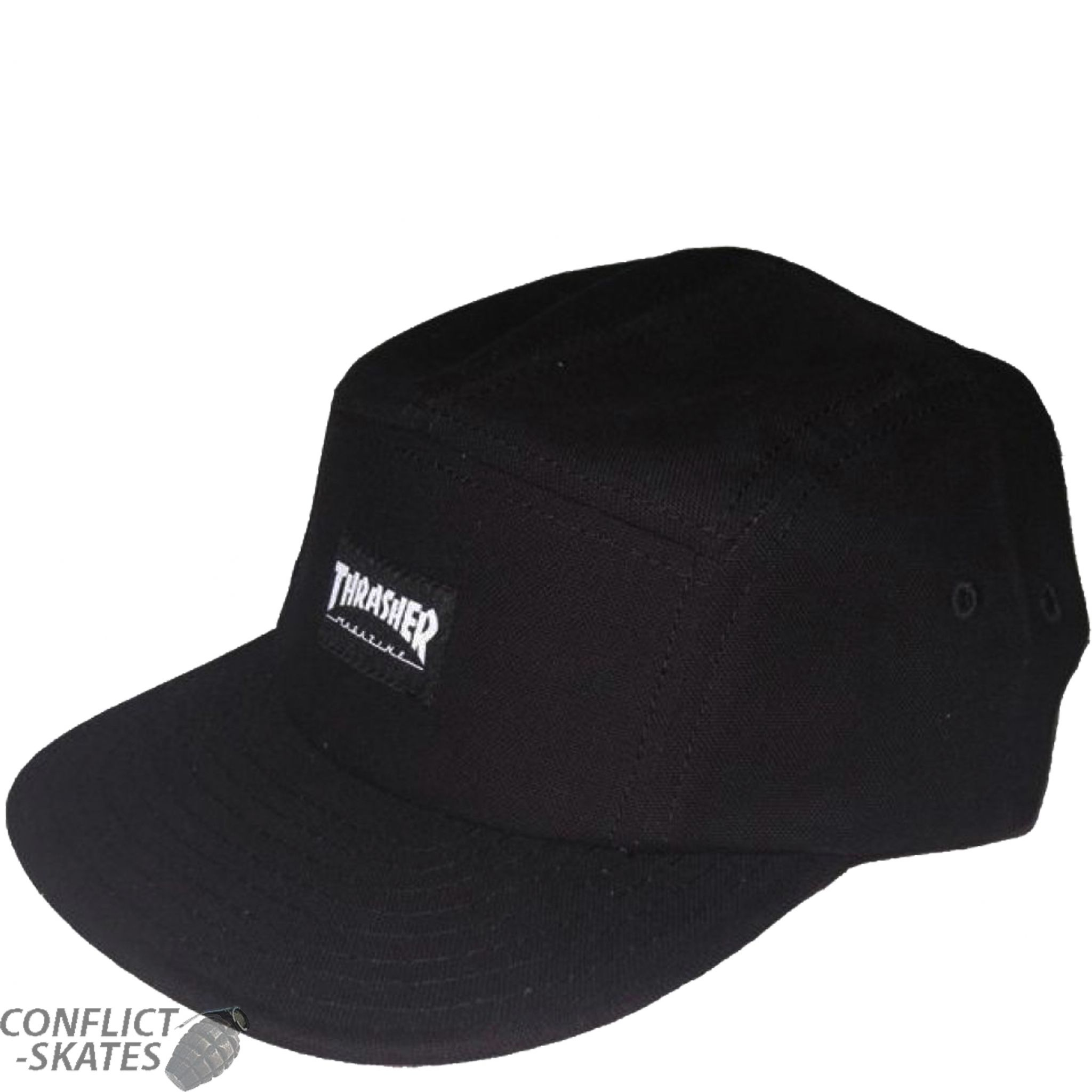 f79734d3aa8 THRASHER MAGAZINE 5 Panel Skateboard Cap OSFA BLACK Hat