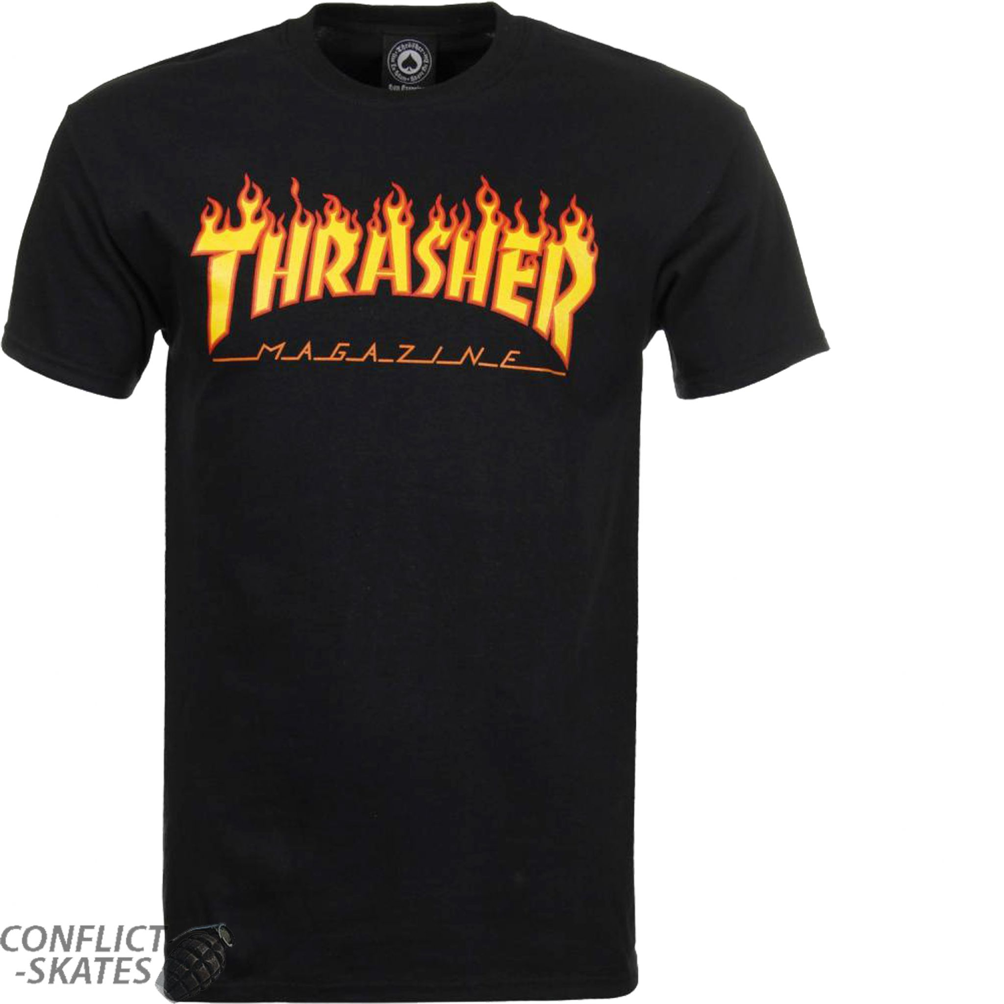 aba412eb2258 THRASHER MAGAZINE Flame Logo Skateboard T-Shirt Black S M L or XL
