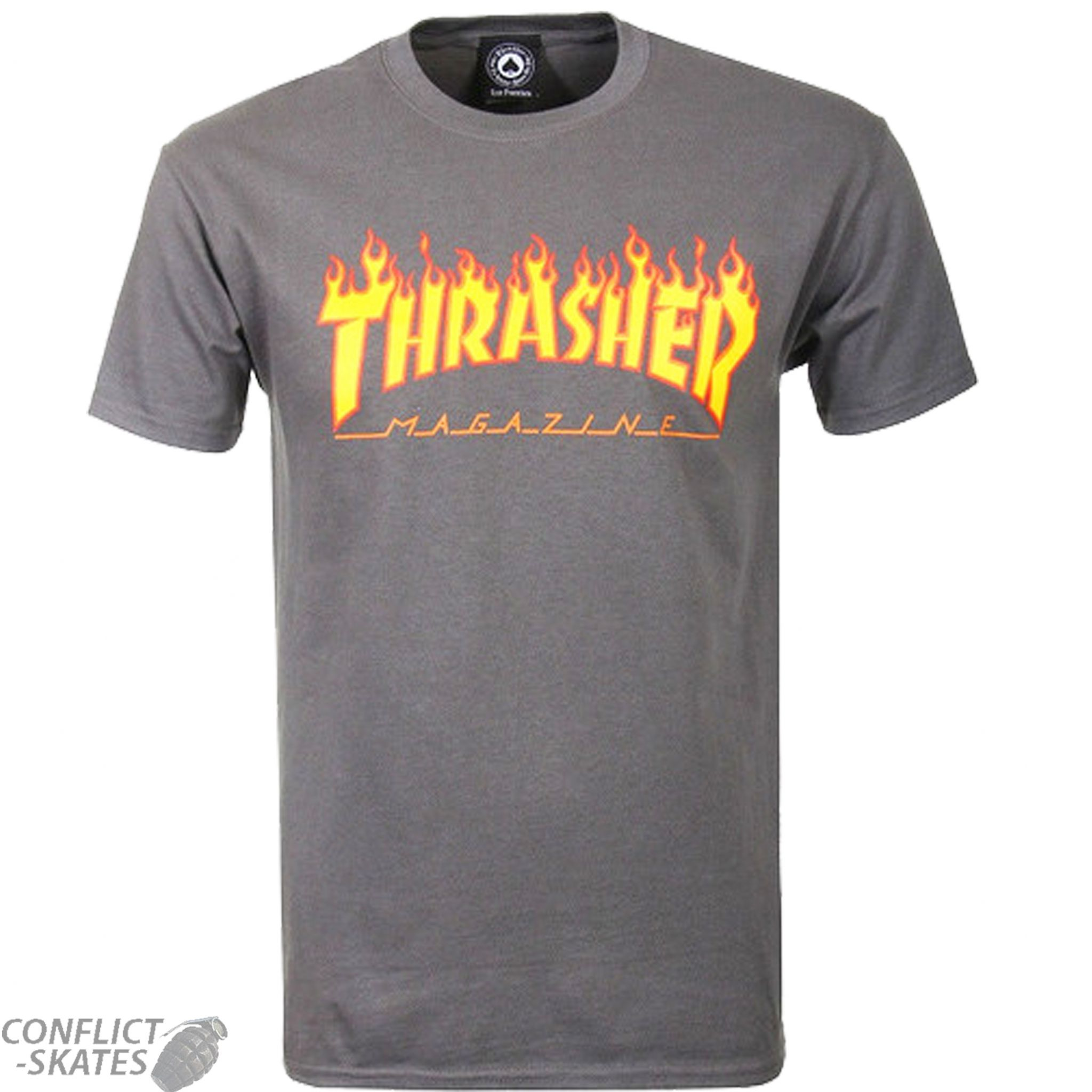 43461ace7a8a THRASHER MAGAZINE Flame Logo Skateboard T-Shirt Charcoal Grey S M L or XL