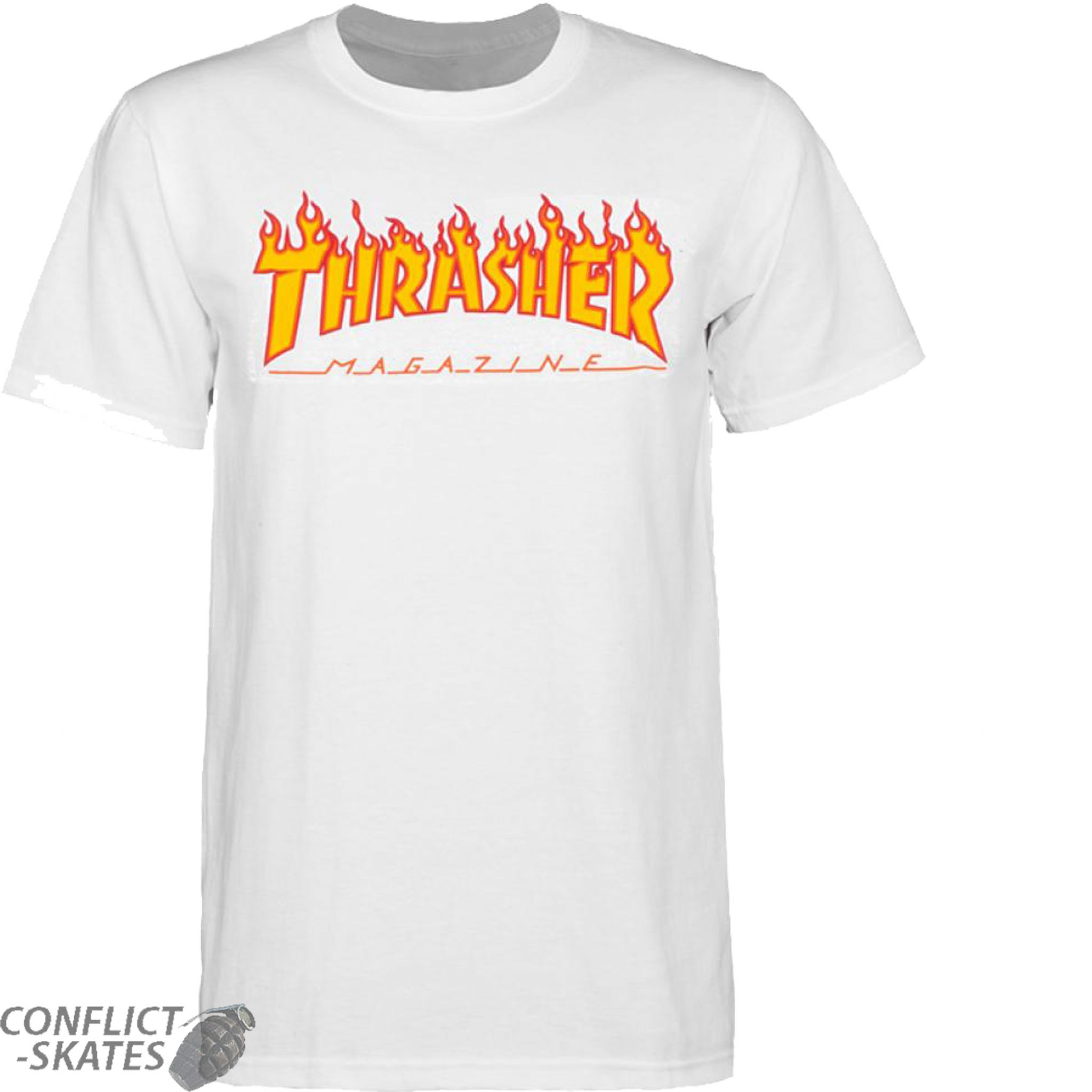 ec91807359b2 THRASHER MAGAZINE Flame Logo Skateboard T-Shirt White S M L or XL