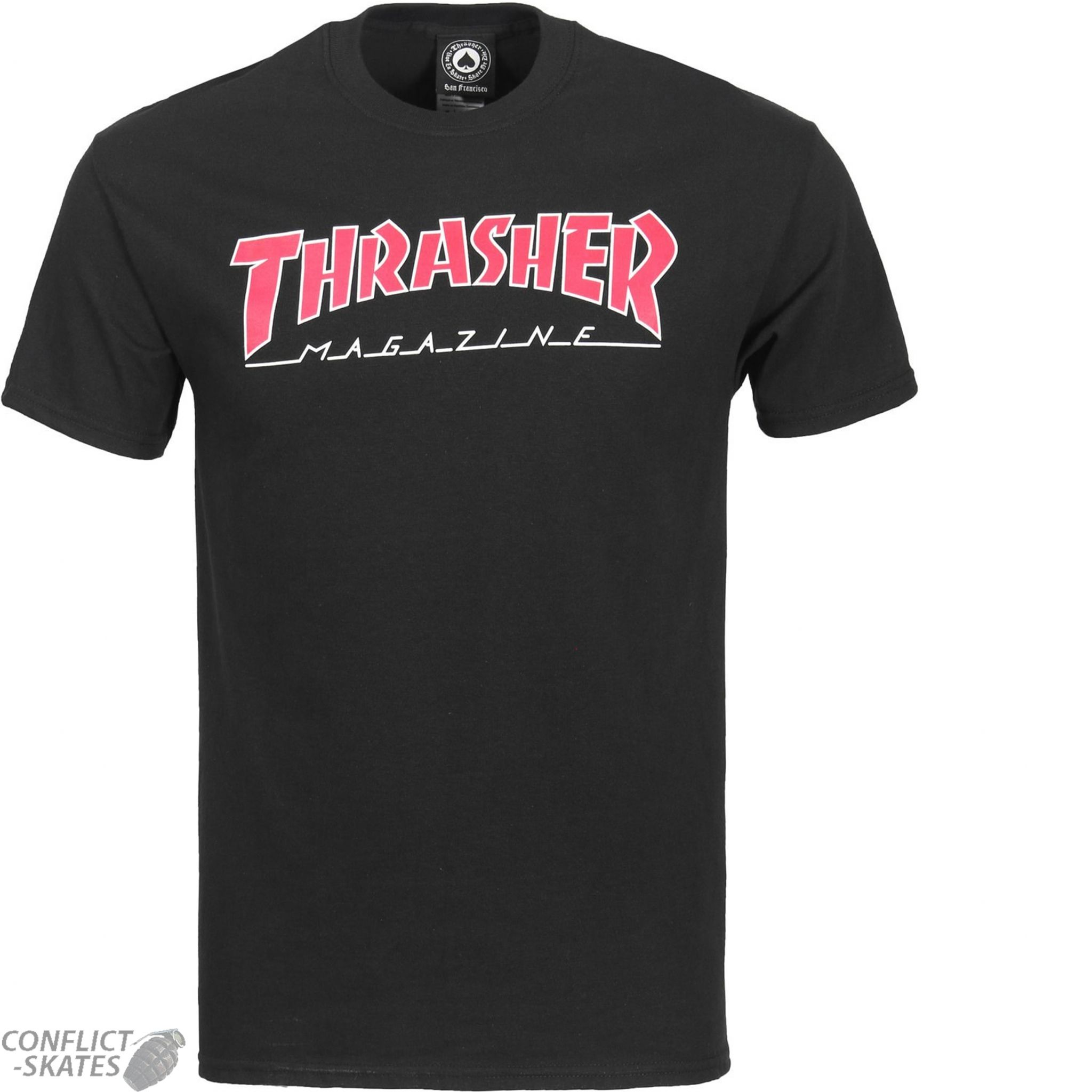 fe304ef13861 THRASHER MAGAZINE Outlined Skateboard T-Shirt BLACK Red S M L or XL punk