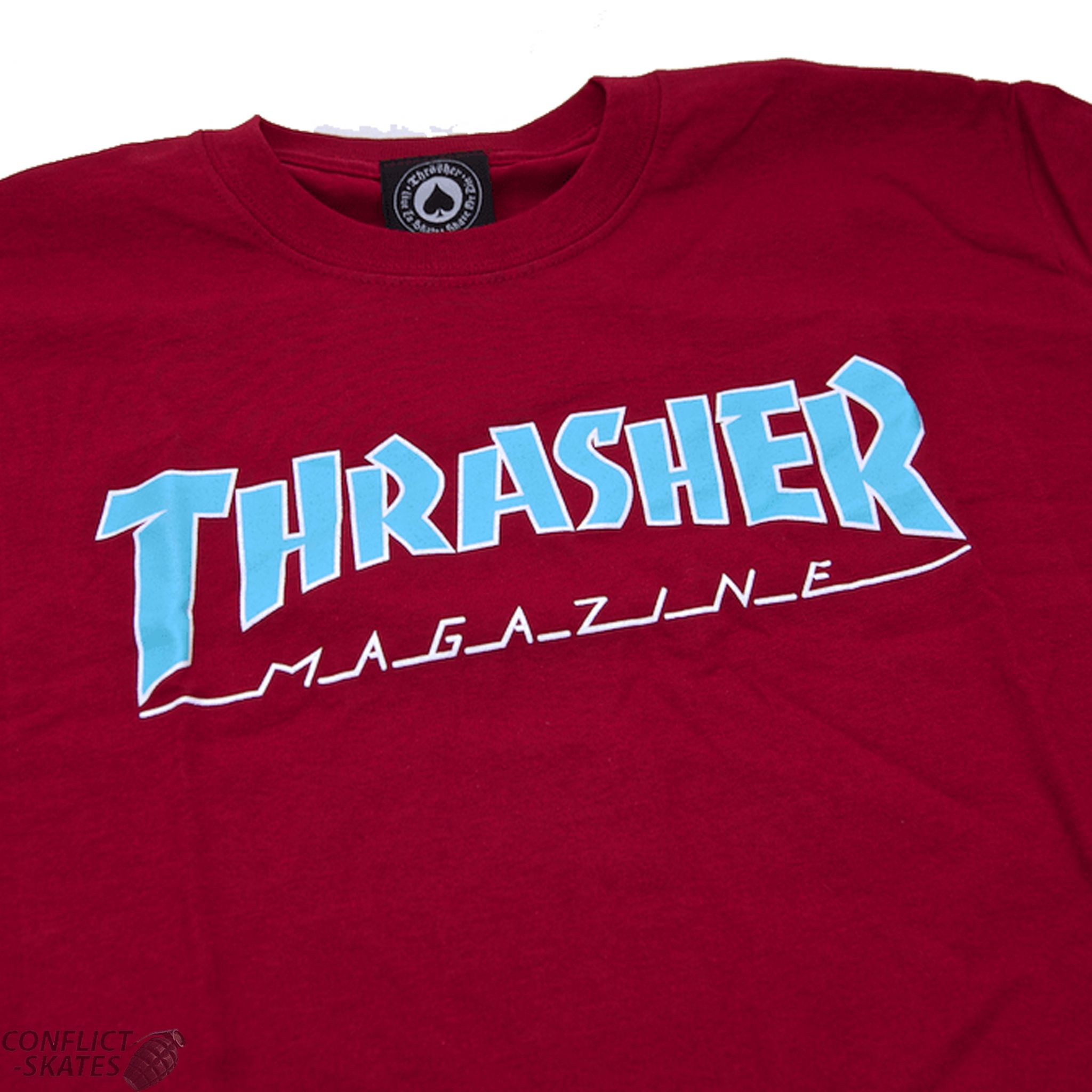 d3b4b1a597f14a THRASHER MAGAZINE S M L XL T SHIRT CARDINAL RED OUTLINED NEW REAL TEE