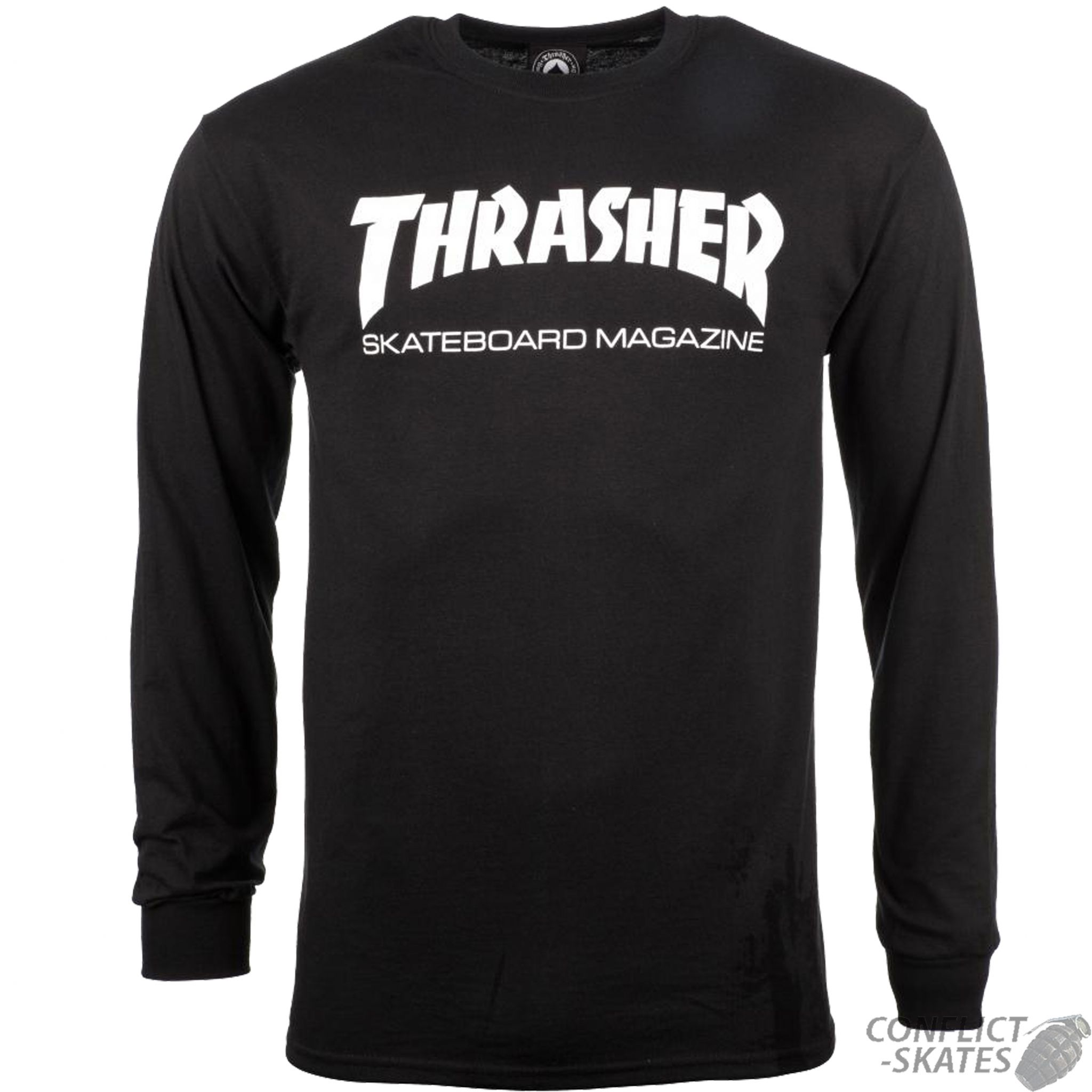 THRASHER MAGAZINE Skate Mag Logo Skateboard L S T-Shirt BLACK S M L or XL Long  Sleeve dc4f60ca6cde