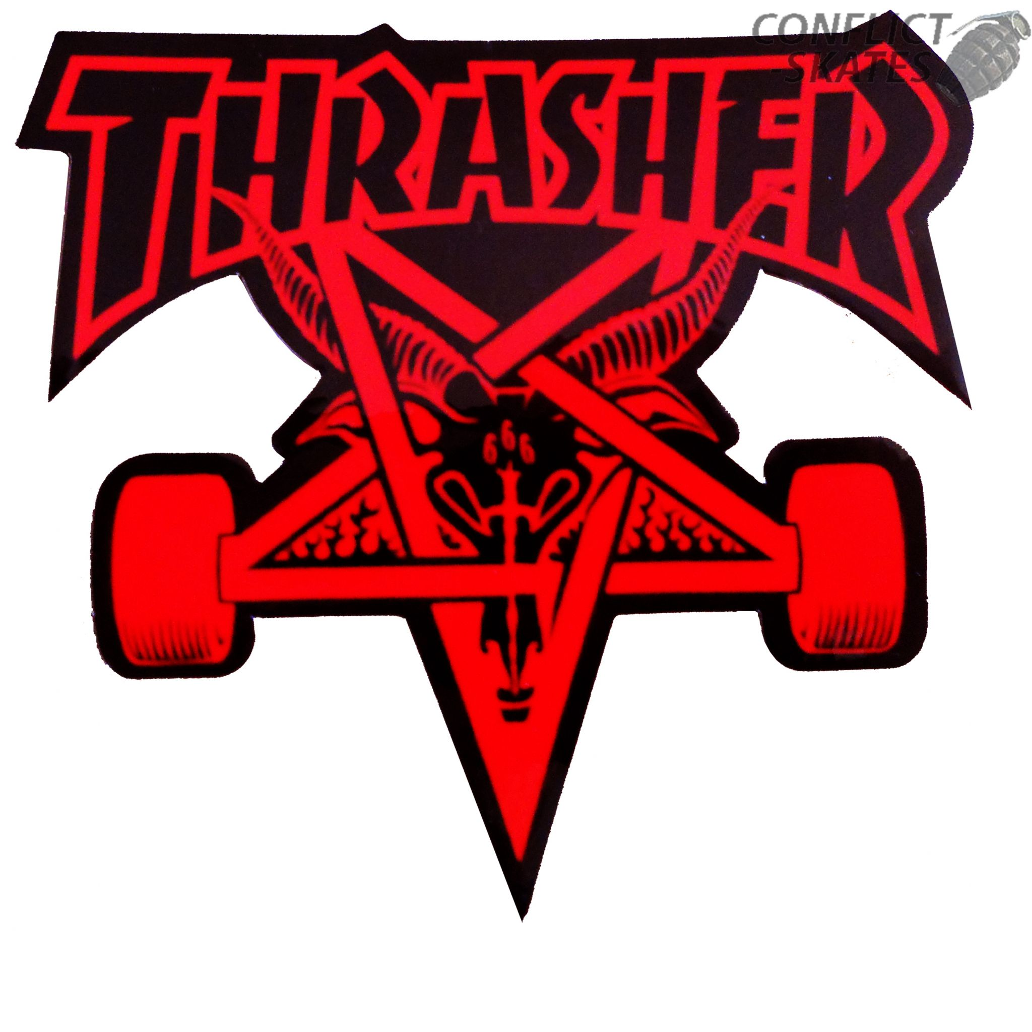 Thrasher Quot Skate Goat Quot Skateboard Sticker 10cm Medium Red